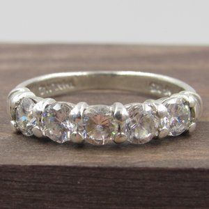 Size 7 Sterling Silver Cool CZ Diamond Band Ring